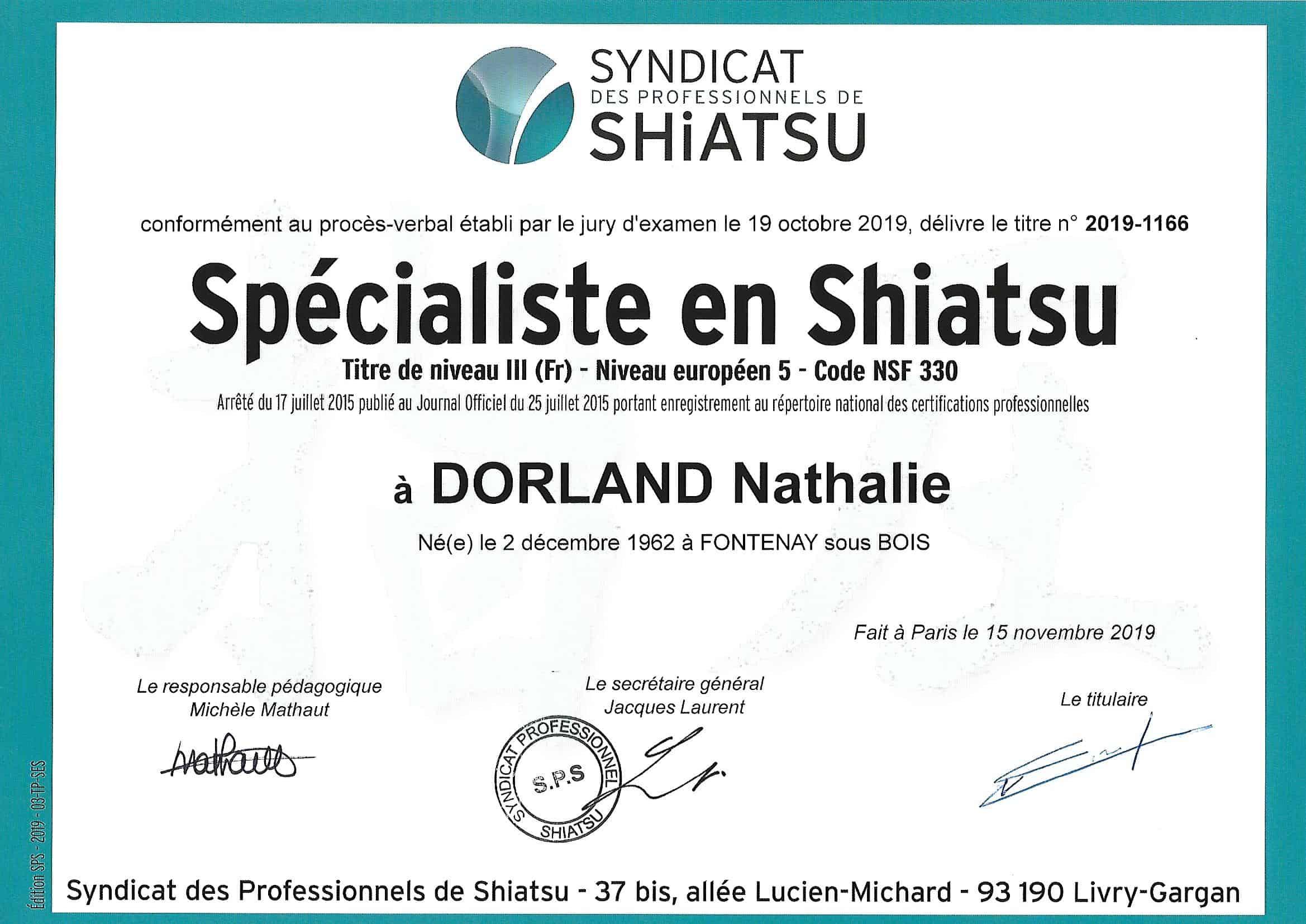 titre professionnel Nathalie DORLAND